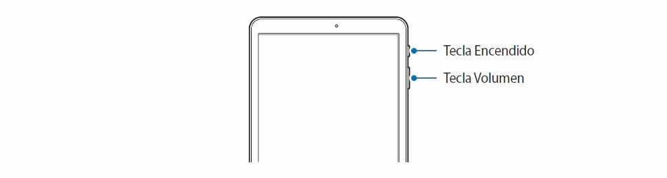 botones de volumen arriba y encendido tablet samsung
