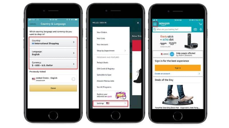 foto muestra 3 pantallazos de la app de amazon