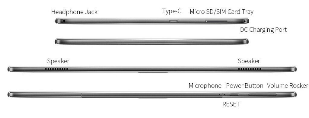 Teclast M30 Pro vista altavoces y conectores