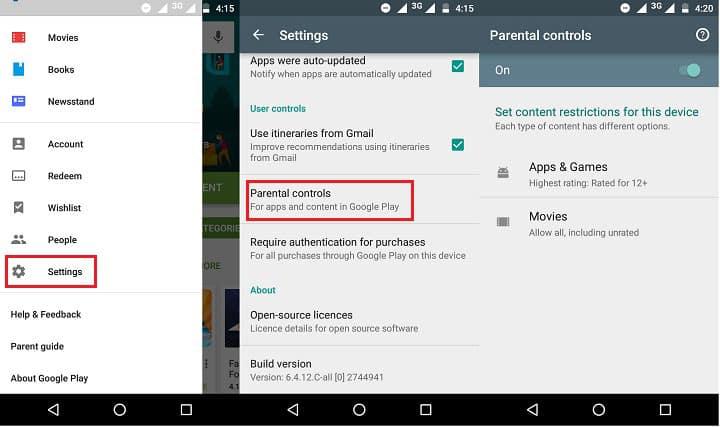 bloquear google play en una tablet android