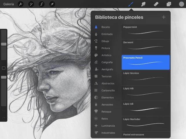 Diferentes pinceles en apps de dibujo