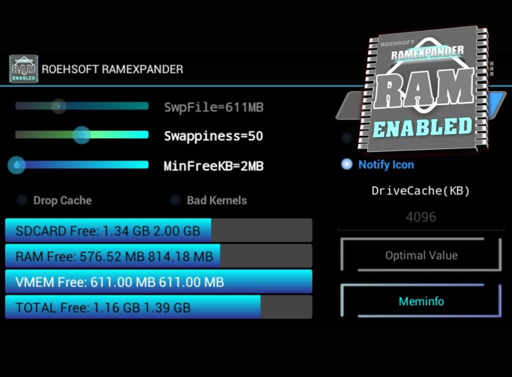 App Roeshoft RAM Expander para MicroSD como memoria RAM